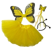 Butterfly Wing Wand Skirt 4pc Set Yellow